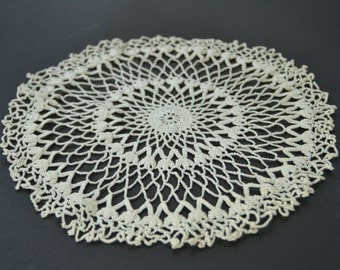 Vintage Round Crochet White Doily Doilie