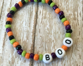 NEW-Halloween Mix-Beaded Stretch Bracelet-Personalized-Name Bracelet-Stackable-Holiday