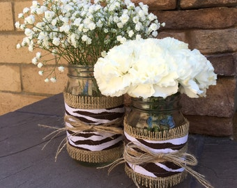 Mason Jar Wrap, BROWN Zebra Print & Burlap, Mason Jar Decoration, Baby Shower, Party, Wedding Decoration