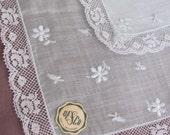 Desco Vintage Solid Pale Blue Cotton Lace Trimmed Hankie - Unused