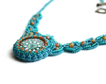 Artisan Mandala Bohemian Tatting Beaded Necklace