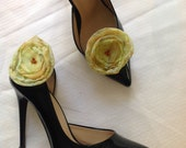 prom,FOR graduations dress shoe, FOR homecoming shoe,  prom shoe Chiffon Floral Shoe buckle - yellow