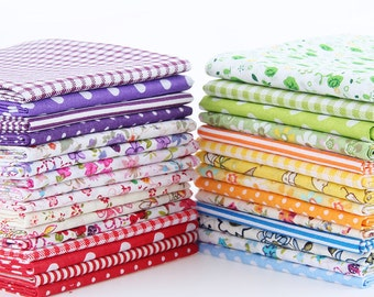 50 pcs/lot  Random Color Thin Cotton Fabric Patchwork Quilting Tilda Fabric No Repeat Design Tissue Color Sewing Fabric 20*24 CM