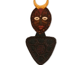 "Quilted Mask Wall Hanging – HER – 23""H X 10.5""W"