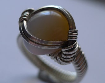 Bluish Yellow Chalcedony Cabochon in Silver Wire-Wrapped Ring, Sz. 8.5