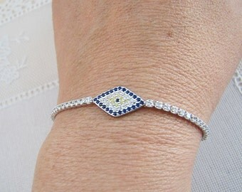 Evil Eye Sterling Silver Bracelet, 7 inches, CZ Tennis Bracelet