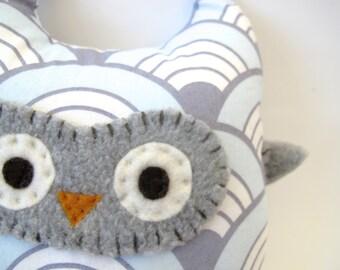 Modern Owl Toy / Stuffed Animal - Blue Wave/ Scallop Fabric - Nursery Decor
