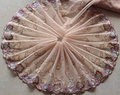 2 Yards Lace Trim Roses Embroidered khaki Tulle Lace 8.66 Inches Wide High Quality