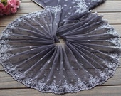 2 Yards Lace Trim Floral Embroidered Deep Grey Tulle Lace 7.87 Inches Wide High Quality