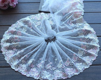 2 Yards Lace Trim Light Pink Rose Flowers Embroidered Tulle Lace 7 Inches Wide High Quality
