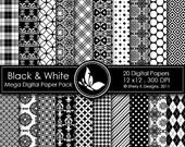 50% Off Black & White Mega Paper Pack - 20 Printable Digital papers - 12 x12 - 300 DPI