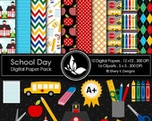50% off School Day Paper Pack - 10 Digital papers - 16 Cliparts