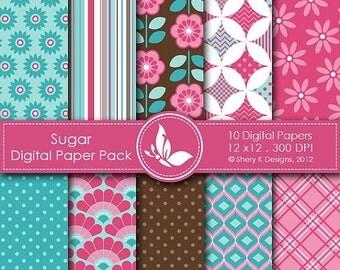 50% Off Sugar Paper Pack - 10 printable Digital Scrapbooking papers - 12 x12 - 300 DPI