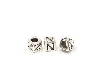 Alphabet Beads Sterling Silver 4mm Alphabet Blocks N - 1pc (3180)/1