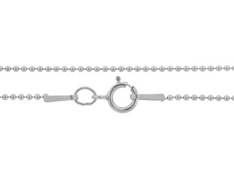 Ball Chain with clasp Sterling Silver 1mm 22 Inch  - 1pc Neck chain (3656)/1