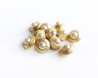 4 Pearl & Gold Buttons, Vintage, Plastic, French Buttons