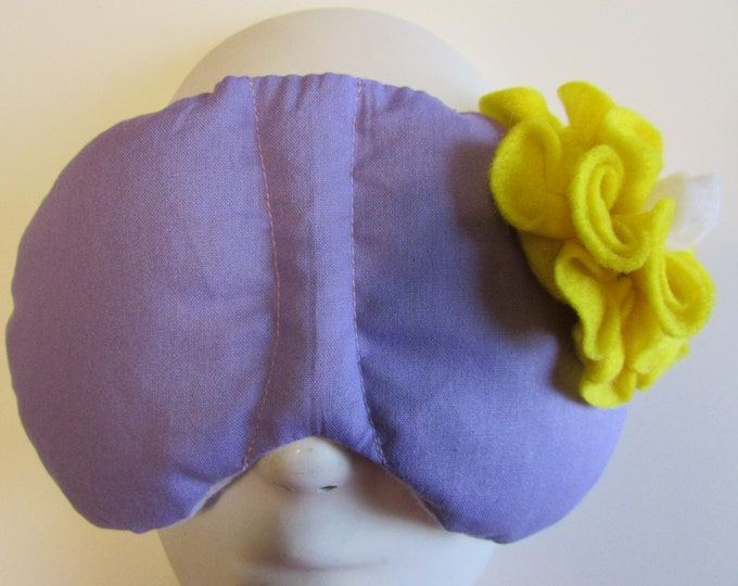 Featured listing image: Herbal Hot/Cold Therapy Sleep Mask Purple Lilac with Yellow Flower