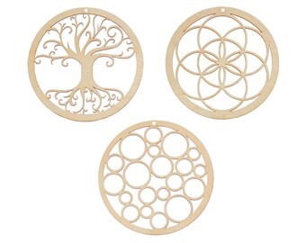 Mini Sacred Wall Art - Set of 3 - Seed of Life, Tree of Life, Bubbles