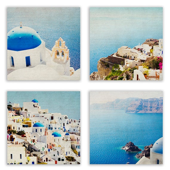 Items Similar To Mediterranean Art Prints Teal Home Decor