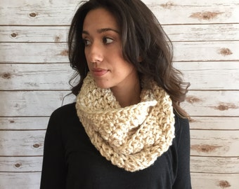 Ivory Textured Infinity Scarf, Neck Warmer, Crochet Circle Scarf