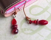 Traveler's Notebook Charm, Traveler's Notebook Bookmark, Leather Bookmark, Page Marker, Red Drops
