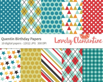 Quentin birthday papers 12x12,  birthday digital papers, royalty free- Instant Download