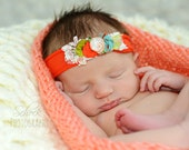 Coral Vintage,floral headband ,infant ,baby,girl, photo prop