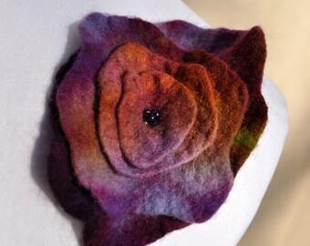 Felt flower, brooch, flower,  beads, purple, green, brown