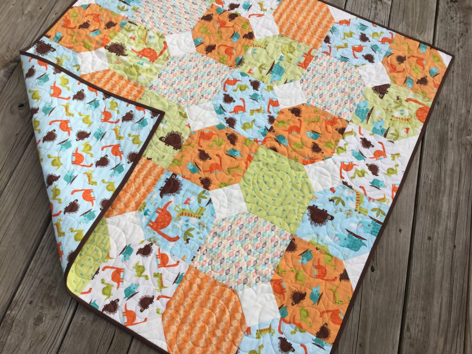 Baby boy dinosaur complete quilt kit riley blake fabrics with for Quilt material for boys