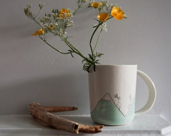 fun coffee cup for men, large handle coffee cup, deer outdoors mountains, white porcelain cup, unique mug, ceramics and pottery handmede cup