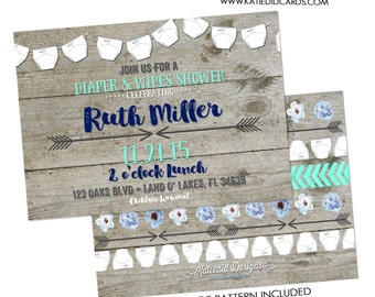 diaper shower invitation gender reveal gender neutral wood baby wipes sprinkle couples twins coed bash (item 1417) shabby chic invitations
