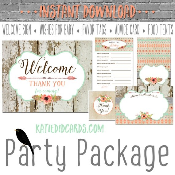 Tribal Coral Mint BOHO 1445 5 item package AS IS Instant Download Welcome sign wishes for baby favor tag food advice wood rustic chic