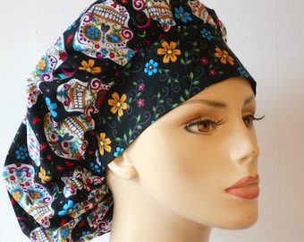 Scrub Hats Bouffant Surgical Scrub Hat -Folkloric Skulls and Flowers All Over with a Floral Headband Scrub Hat Medical Scrub Hat