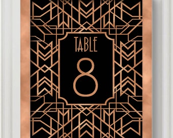 Rose Gold Gatsby Table Number - Art Deco Wedding Decoration - You Pick Colors  - Wedding and Event Decor