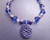Celtic Knot Necklace, Scottish Jewelry, Irish Jewelry, Blue Beaded Necklace