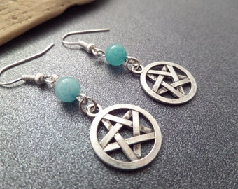 Pentacle Earrings, Pentagram Charms with Light Blue Amazonite Beads, Wicca Pagan Celtic Jewelry