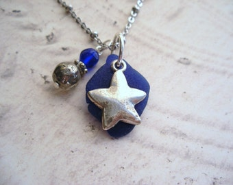 Star Necklace with Cobalt Blue Scottish Sea Glass, Gift From Scotland, Beach Glass Jewelry
