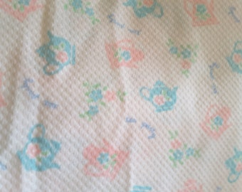 """2 Yards White Print Woven Cotton Fabric  60"""" Wide  Some Stretch"""