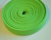 "Lime Green 1 and  1/4"" Cotton Webbing for belts, key chains, dog collars and more Sold by the Yard~~~Ready to Ship"