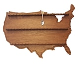 United States of America Shaped Spoon Collector Display