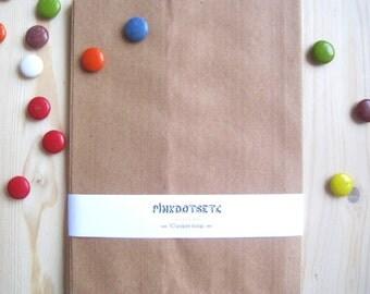 """10 Kraft Paper Favor Bags - 5.5"""" x 7.5"""" - 10 pcs - Party Favors, Candy Bags, Treat Gift Bags, Wedding Favor Bags, Kraft Brown Paper Bags"""