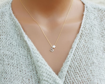Tiny Star Necklace / Lucky Necklace // Horseshoe Necklace / Dainty Necklace / Charm Necklace / Simple Silver Necklace, Childs Necklace