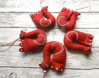 Set of 5 Felt Bird Red  Christmas Ornament