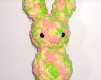 Bunny Floof - Super Soft & Cuddly Crochet Plushie Stuffed Toy Animal - 7.5 inch Plush Rabbit Baby Childrens Toy Yellow Pink Green