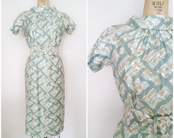 Vintage 1950s 1960s Wiggle Dress / Jo White Dress / Sage Green Fitted Dress / Small Medium