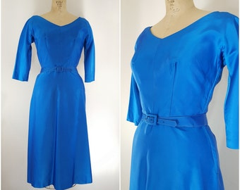 Vintage 1950s Cocktail Dress / Blue Satin Dress / Small