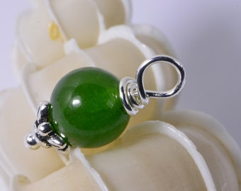 Jade  Beads 8 mm Wire Wrapped Head Pin Silver wire