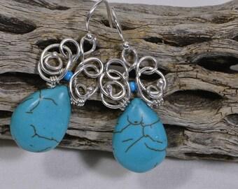 Turquoise Earrings Turquoise Teardrops Earrings Turquoise sterling Silver Earrings Wire Wrapped , Handmade