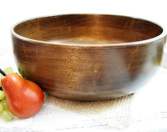 "Vintage Vermont Wood Bowl, Hand Turned Large 14"" Diameter ... Wooden Salad, Fruit, Console Bowl ... Woodbury's of Shelburne, VT"