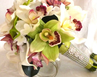 Reserved Orchid Bridal Bouquet with gerbera maids bouquets boutonnieres and corsages